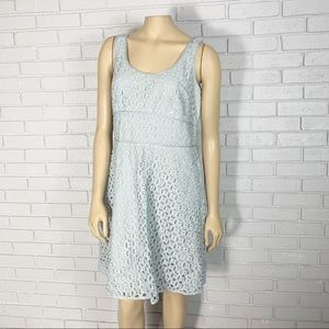 Ann Taylor Loft Women's Pale Blue Eyelet Dress